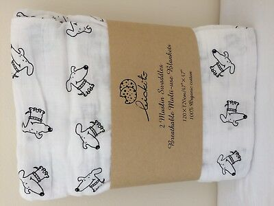"""100% Organic Cotton Muslin Blankets Swaddle Large 47"""" x47"""" 2 in the pack Baby"""
