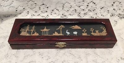 Chinese Wooden Jewelry Box With Handcrafted Cork Carving Art.     #3524