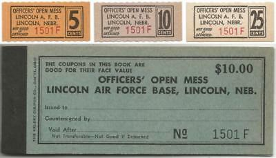 LINCOLN NEBRASKA 3 Officers Mess CHITS & BOOK from CLOSED Lincoln AIR FORCE BASE