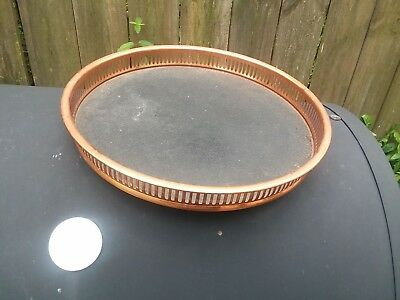 Vintage Coppercraft Guild Copper Serving Tray with Black Faux Leather & Wood