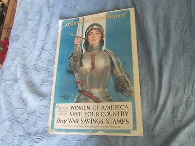 WWI Print, Joan of Arc Saved France War Savings Stamps Poster, 14.5 by 21