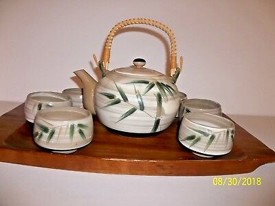 Japanese Tea Set Tea Pot 6 Cups  on Monkey Pod Wood Tray Bamboo Pattern