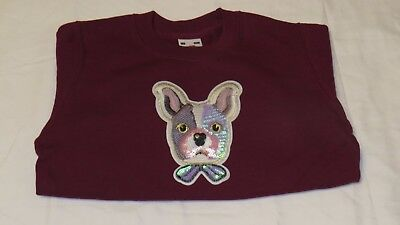 Fruit Of The Loom Sweat Shirt, Dog With Bow, Burgundy Ages 3/4, 5/6, 7/8, 12/13