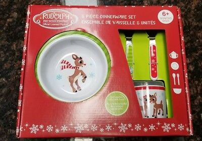 Rudolph The Red Nosed Reindeer 5 Piece Dinnerware Set New In Box