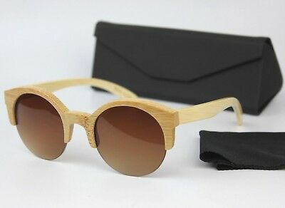Half Frame Cat Eye Round Lens 100% Wood Bamboo Sunglasses Spring Hinges+CASE