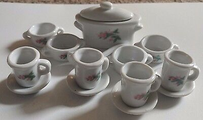 Miniature Ceramic Porcelain White Pink Rose 15 Piece Tea Set Doll House Service