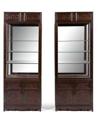 An Exceptionally Pair of Chinese Zitan Veneer Hardwood Display (Two Pieces)