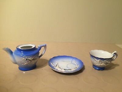 Japan Miniature Pitcher, Tea Cup & Saucer Set Porcelain Blue Dragon