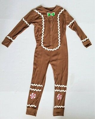 Brown Gingerbread Man Pajamas One Piece Boy Girl Size 5T Christmas Holiday