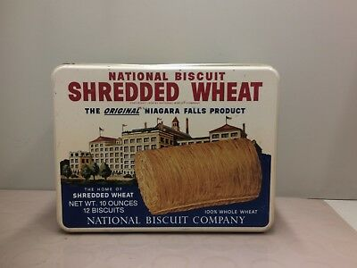 Vintage National Biscuit Shredded Wheat Metal Advertising Tin