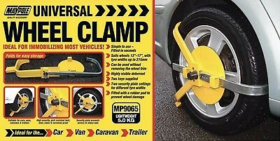 Maypole MP9065 Wheel Clamp Wheelclamp Wheel Size 13-17 inch 215mm Max Tyre Width