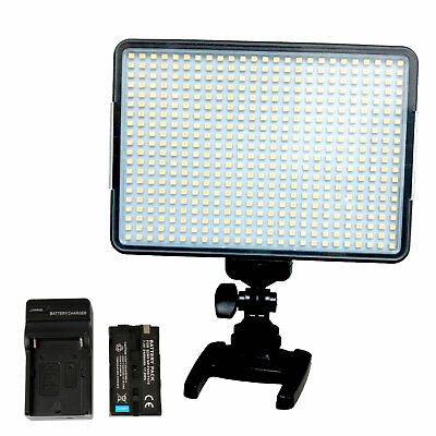 Dimmable 500 LED Video Light on Camera LED Panel with Battery Charger