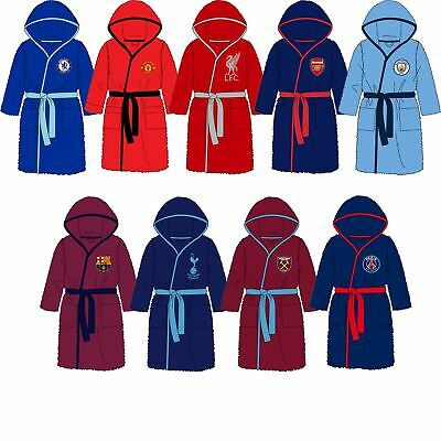 Childrens Boys/Girls Football Fleece Robe Kids Dressing Gown Hood Age 3-12 Years