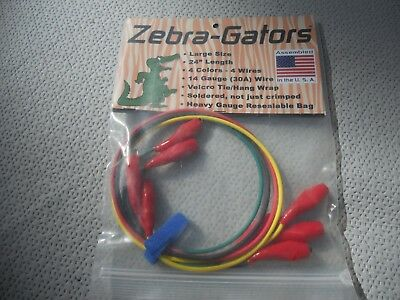 "Zebra-Gators Jumper Wires 14g 4 colors/4 pieces 24"" length NEW ZG004"