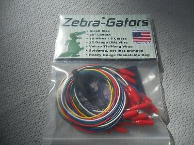 "Zebra-Gators Jumper Wires 22g 10pc/5 colors 36"" length NEW ZG002"