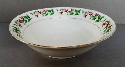 """Gibson Everyday CHRISTMAS CHARM 9"""" Round Vegetable Bowl Holly Berries Gold Trim"""
