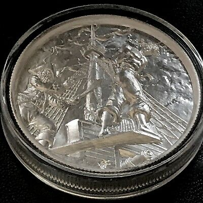 Elemetal Privateer The Plank 5th in Series 2oz 999 Fine Silver Art Round Ship