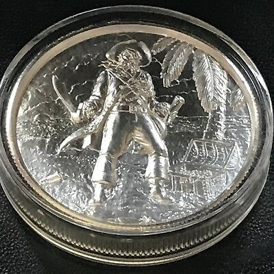 Elemetal Privateer El Captain 3rd in Series 2oz 999 Fine Silver Art Round Pirate