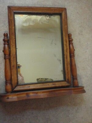 Antique Mirror Swivel Wooden Stand for Dresser Table Top Vintage Men's Vanity