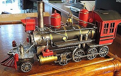 Vintage Style  Railroad Train Steam Engine Hand Made Painted Model All Metal Art