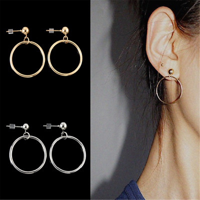 Retro Women Gold Silver Plated Big Circle Smooth Large Ring Hoop Earrings Chic