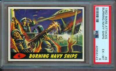 1962 Mars Attacks #6 Burning Navy Ships Psa 6