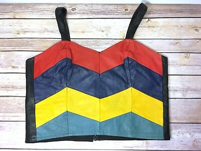 Vtg 80's Leather Colorblock Bustier Crop Top Size Med Black Red Yellow Blue Zip