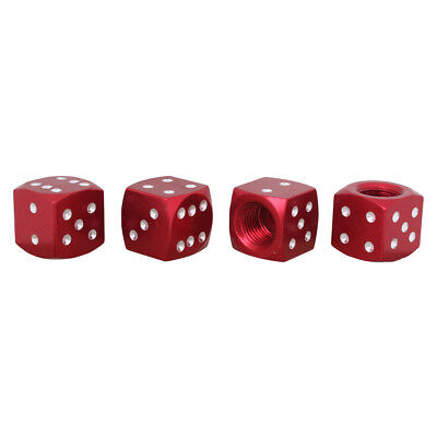 4pcs Dice Style Tire Valve Stem Caps for Car MOTO Bicycle Red Aluminum Alloy