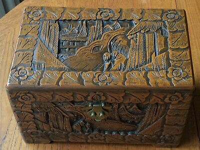 Chinese Camphor Wood Carved Small Chest with Catch, Made In Hong Kong 🇭🇰