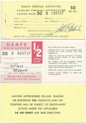 1972 3rd US AIR FORCE in Great Britain, GOOD FOR ½ IMPERIAL GALLON Gasoline CHIT