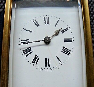 Brass Carriage Clock Working Bevelled Glass Frence Made With Leather Case Spares
