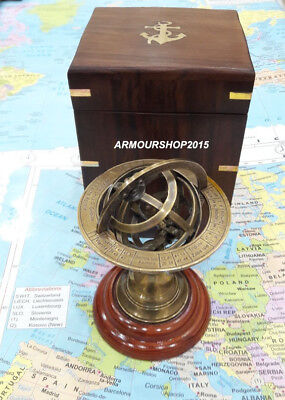 Nautical Solid Brass Sphere Armillary Collectible Office Decor Item With Box