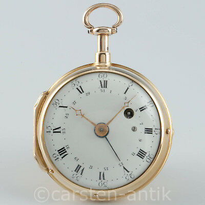 Einzigartige Julien Le Roy Paris 1740 20k Gold Spindeluhr ¼ Repetition & Datum