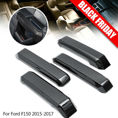 4pc Carbon Fiber Inner Front Side Door Handle Cover Trim For 2015-2017 Ford F150