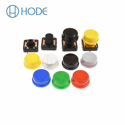 Momentary Tactile Push Button Touch Micro Switch 4P PCB Caps 12x12x7.3mm-12mm UK