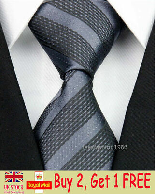 Mens Wedding Silk Tie Classic Slim Business Necktie Grey Striped Skinny Ties Men