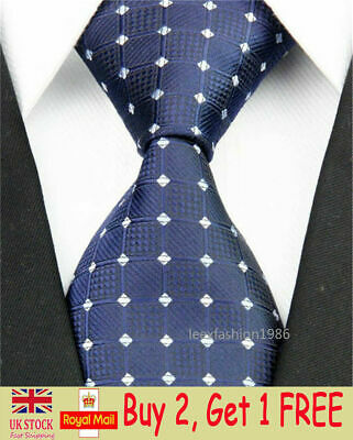 Mens Classic Wedding Silk Tie Slim Business Necktie Blue White Groom Skinny Ties