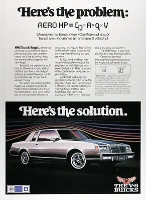 1981 BUICK REGAL Genuine Original Vintage Ad ~ The V6 Buicks