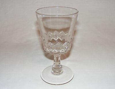 """VINTAGE ANTIQUE VICTORIAN EARLY AMERICAN PRESSED GLASS 6"""" WINE GOBLET Eapg  1880"""