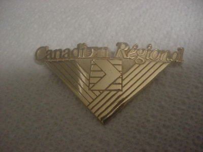 Obsolete Gold-tone Canadian Regional Airlines Pilot Hat/Cap Badge. V.G. Cond.