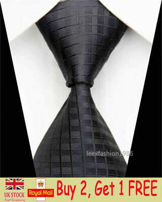 Mens Black Silk Tie Classic Slim Business Formal Necktie Plaid Skinny Ties Men