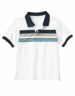 NWT Gymboree Boy SPACE VOYAGER White Striped Polo Shirt  Size 3