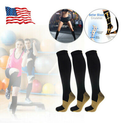 3 Packs COPPER Compression Socks (S-XXL) Knee High Leg Support Stockings USA