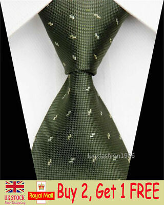 Mens Classic Silk Tie Fashion Slim Business Necktie Army Green Plaid Skinny Ties