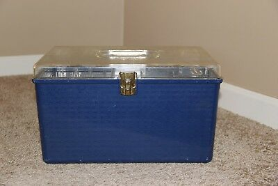 Vintage Dark Blue WIL-HOLD HARD PLASTIC SEWING/CRAFT box