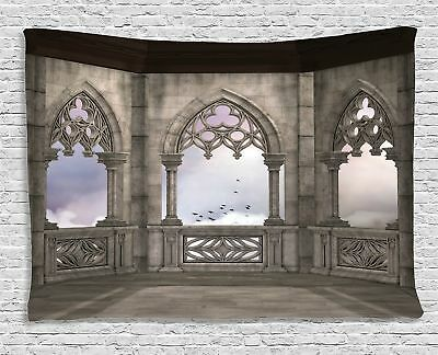 Ambesonne Gothic Decor Collection, Medieval Stone Balcony with Curvings Graphic