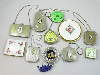 Enamel Silver Plated Compact Lot of 11 Cloisonne & Guilloche Floral Etched