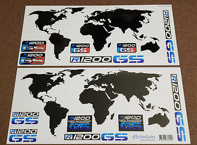 BMW Motorrad Motorsport R1200GS Adventure Blue Map Laminated Decals Stickers Kit