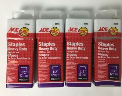 "ACE 22268 Staples Heavy Duty 1000 box 1/2/"" 12 mm Lot of 4 1E"