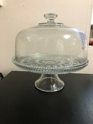Glass Footed Cake Plate with Dome. Large! 12.5 inch wide dome